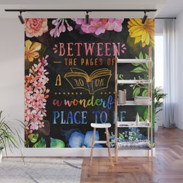 Between the pages - black Wall Mural