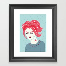 Portrait Of A Girl With Pink Hair Framed Art Print