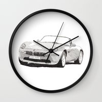 bmw Wall Clocks featuring BMW Z8 by Rik Reimert