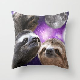 Three Sloths Howling At Moon Like Wolves Throw Pillow