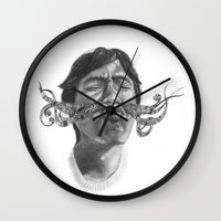 moustache Wall Clocks featuring Moustache by Anna Fullerton