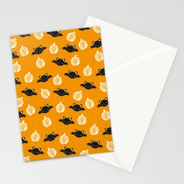 Halloween Bats and Pumpkins Stationery Cards