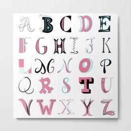 Pink and Blue Alphabet Metal Print