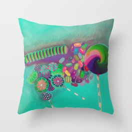 Lollipop & Jelly Beans Throw Pillow