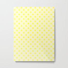 Electric Yellow on Cream Yellow Stars Metal Print