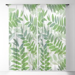 Green Jungle Leaves Sheer Curtain