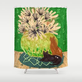 Chartreuse Vase drawing by Amanda Laurel Atkins Shower Curtain