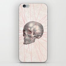 Abstract Gray Vintage Skull Modern Pink Stripes iPhone & iPod Skin