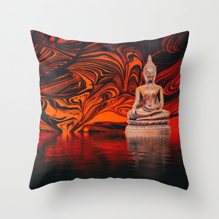 Buddha on a Lake of Fire and Water Throw Pillow