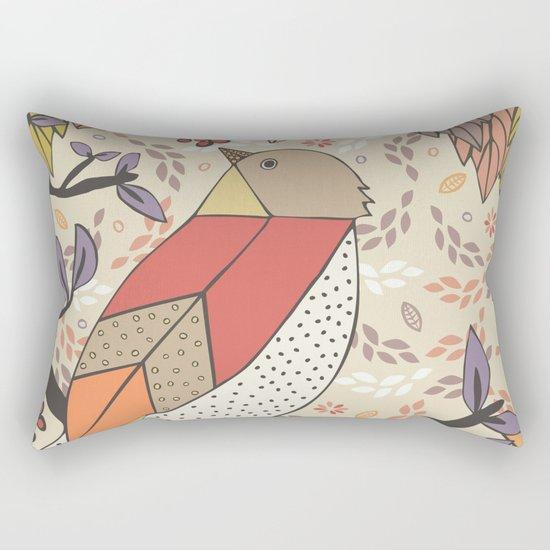Singing Red Bird Rectangular Pillow