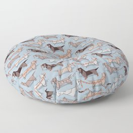 Origami Dachshunds sausage dogs // pale blue background Floor Pillow