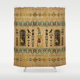 Egyptian Amun Ra - Amun Re Ornament on papyrus Shower Curtain