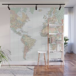 Clear World Map Wall Mural