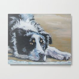 Border Collie dog portrait art from an original painting by L.A.Shepard Metal Print