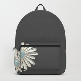 Gray,blue flowers Backpack
