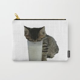 Cute Wild Kitten With A Glass Full of Optimism Carry-All Pouch
