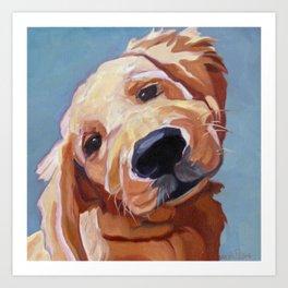 Golden Retriever Puppy Original Oil Painting Art Print