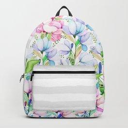Modern watercolor pink lavender teal floral white stripes Backpack