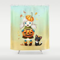 pumpkin Shower Curtains featuring Pumpkin 2 by Freeminds