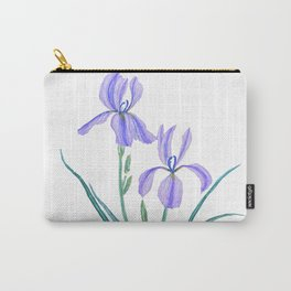 vintage purple iris watercolor Carry-All Pouch