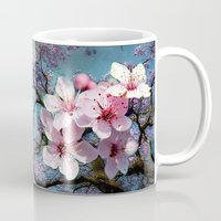 cherry blossoms Mugs featuring Cherry Blossoms by Just Kidding