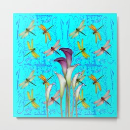 PURPLE CALLA LILIES IN  DRAGONFLY WORLD  ART Metal Print