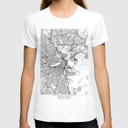 Boston Map White T-shirt