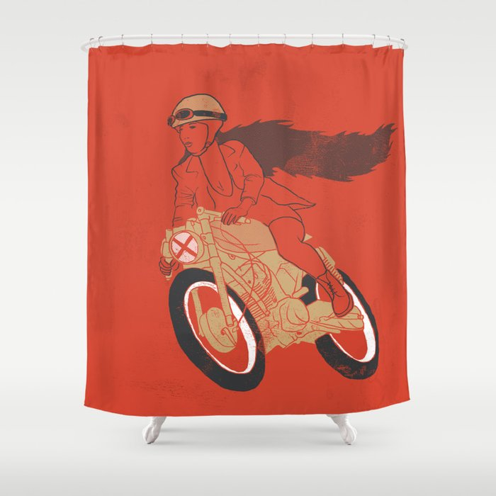 Long Hair Girl Riding A Motorcycle Shower Curtain