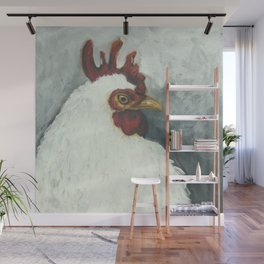 Happy chicken hand painted portrait Wall Mural