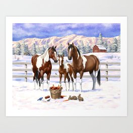 Bay Pinto Paint Horses In Snow Art Print
