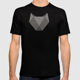 Geometric origami black cat T-shirt