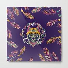 Colorful Tribal Wolf Dreamcatcher Metal Print