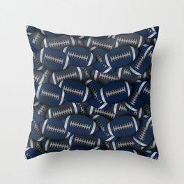 Football Field of Blue Footballs Throw Pillow