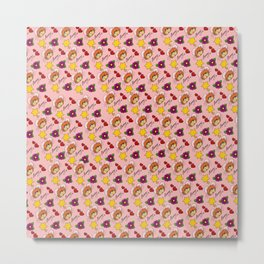 Hammy Pattern in Peach Pink Metal Print