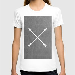 gray crossed arrows T-shirt