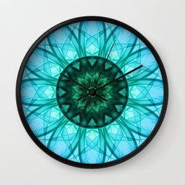 Blue mandala with floral ornament Wall Clock