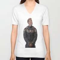 steve rogers V-neck T-shirts featuring THE PRICE OF FREEDOM - Steve Rogers by Danielle Aragon