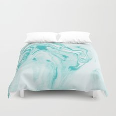 Aimi - spilled ink abstract water wave tropical vacation india ink aqua gender neutral painting boho Duvet Cover