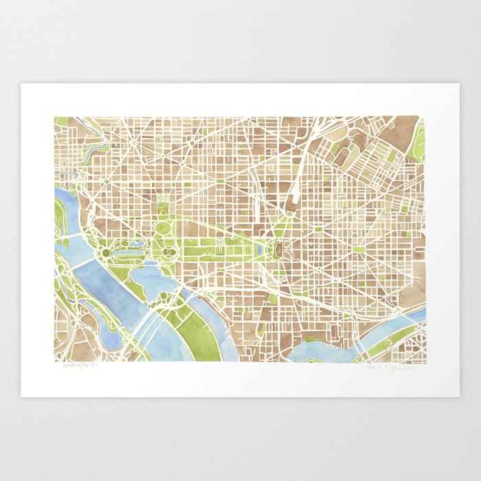 Washington dc watercolor city map art print by aemcdraw society6 washington dc watercolor city map art print gumiabroncs Image collections