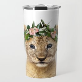 Baby Lion With Flower Crown, Baby Animals Art Print By Synplus Travel Mug