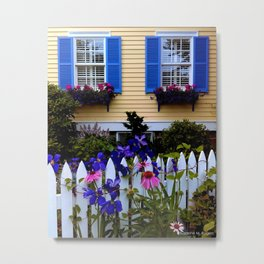 Blue and Yellow New England Cottage and Garden Metal Print