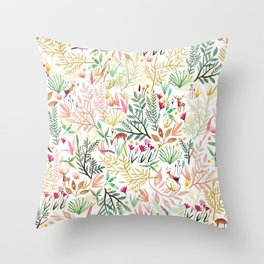 Deers In The Forest Throw Pillow