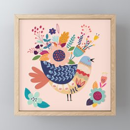 With Flowers On Her Feathers She Flies Freely Framed Mini Art Print
