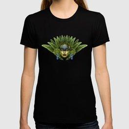 """Tropical green and indigo jungle Woman"" T-shirt"