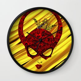 Horns, masked and crowned on yellow Wall Clock