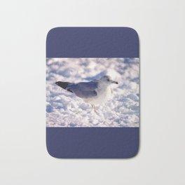 Brooklyn snowy day gull Bath Mat