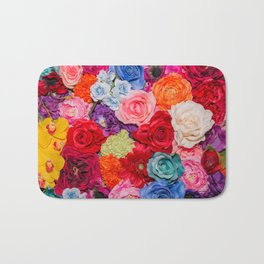 Vibrant Rainbow Flowers Bath Mat