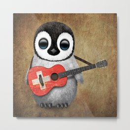 Baby Penguin Playing Swiss Flag Guitar Metal Print