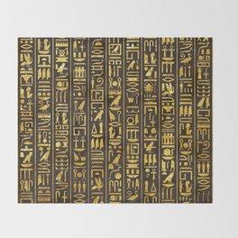 Gilded Hieroglyphs Throw Blanket