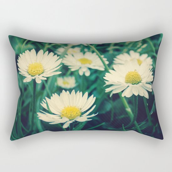 Spring Blooming White Daisies and Lady Bird Johnson Quote Rectangular Pillow
